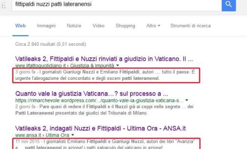Quanto vale la giustizia Vaticana…? sul processo a Fittipaldi e Nuzzi.